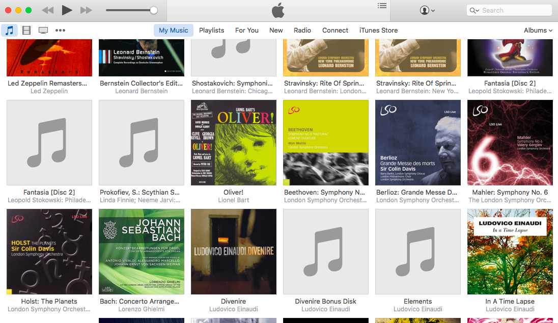 Musical Tiles: The typical layout of an iTunes library. It just doesn't hold he appeal as a shelf of CD's or LP's.