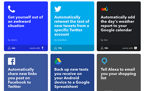 Some examples of popular 'applets' from IFTTT's home page