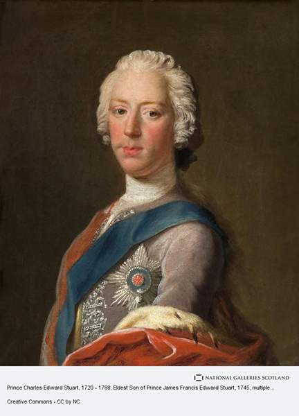 Allan Ramsay, Prince Charles Edward Stuart, 1720 - 1788. Eldest Son of Prince James Francis Edward Stuart 1745. Also known as the 'lost portrait'. Image National Galleries Scotland
