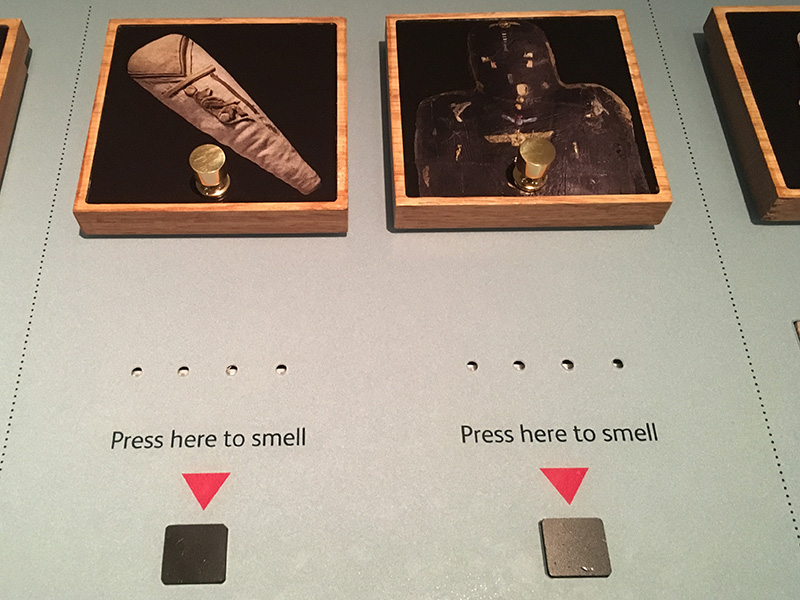 Tactile Interactive in the Tomb exhibition, allowing visitors to smell different fragrances used in burials