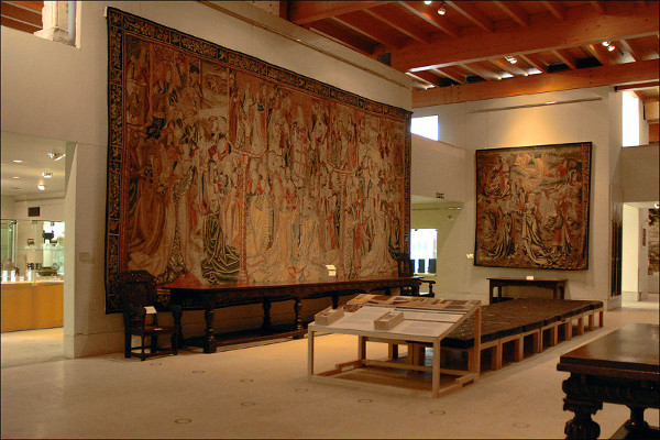 The tapestry gallery in the Burrell Collection. Leaks and water ingress began to restrict what could be shown in the space