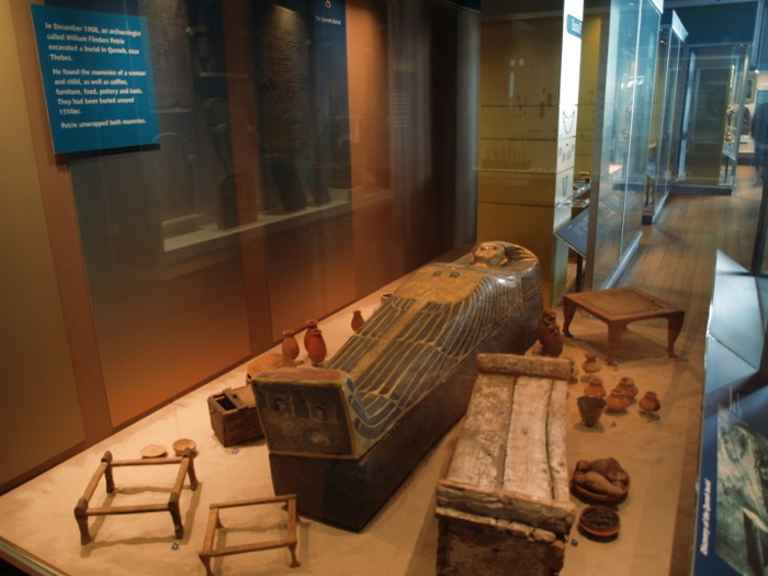 The Qurneh burial, on display in the old Egyptian gallery