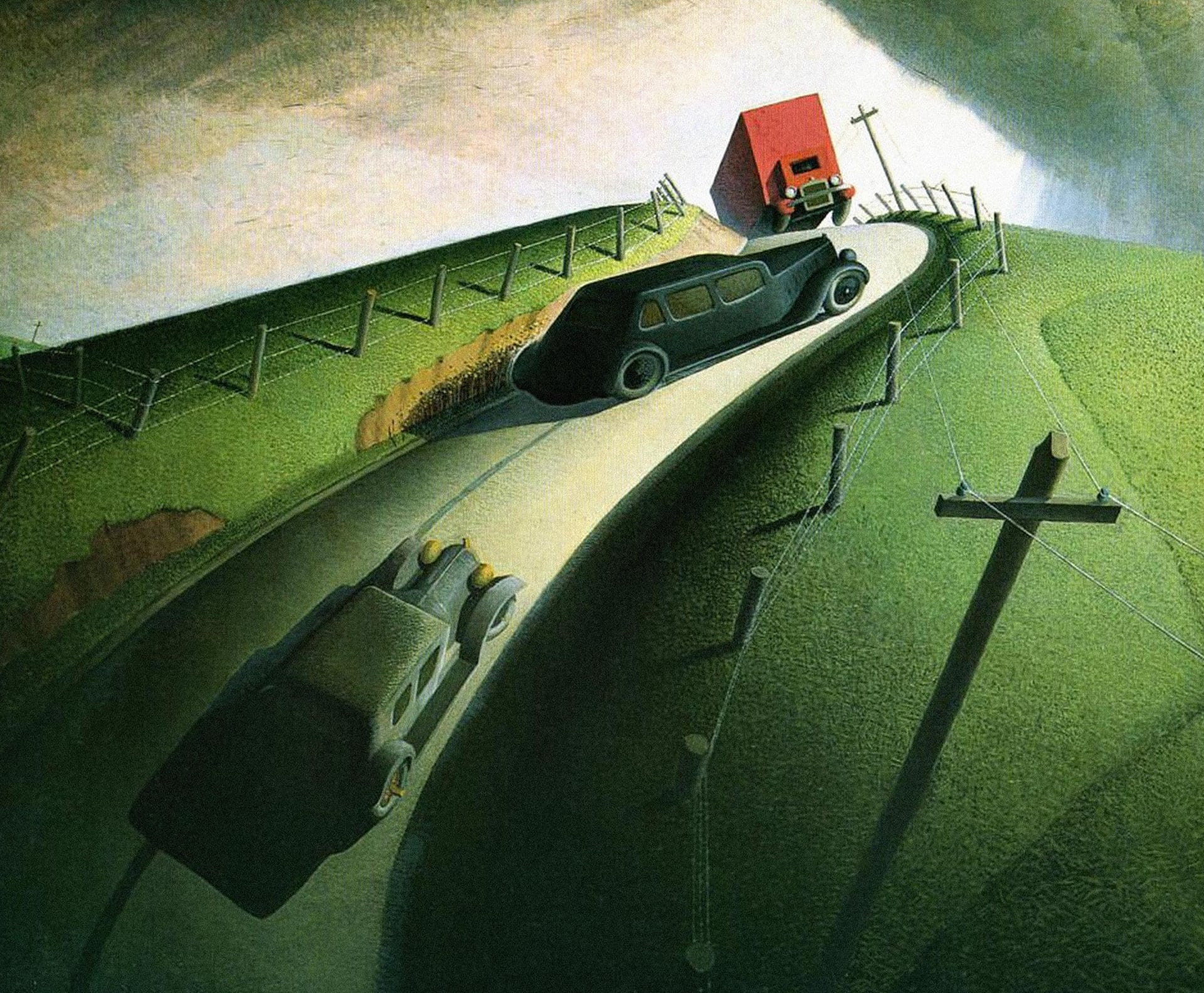Grant Wood, Death on the Ridge Road, 1935. Williams College Museum of Art