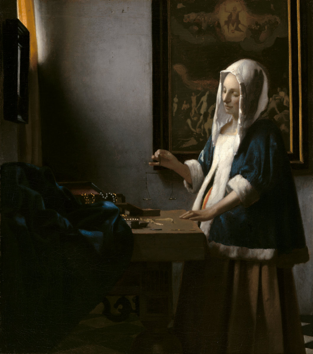 Johannes Vermeer, Woman Holding a Balance, 1662-63. Image: National Gallery of Art, Washington