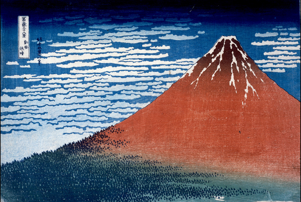 Hokusai, Fine Wind, Clear Day With a Southern Breeze (Red Fuji) from Thirty-Six Views of Mount Fuji, 1831. Image: British Museum